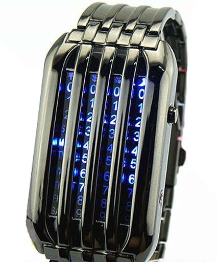 Fanmis 72 LED azul binario de los relojes digitales Hombres de negro reloj de pulsera de acero inoxidable: Amazon.es: Relojes