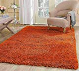Cheap Shag Shaggy Modern Contemporary Fluffy Furry Fuzzy Contemporary Modern Decorative Living Room Bedroom Soft Plush High Pile Area Rug Carpet Burnt Orange Bright Orange Rust 8×10 ( Popcorn Orange )