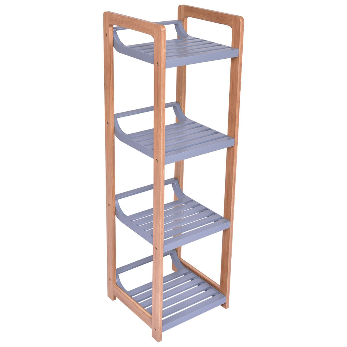 totoshop Multifunction Storage Tower Rack Shelving Shelf Units Stand Bamboo New 4 Tier by totoshop (Image #3)