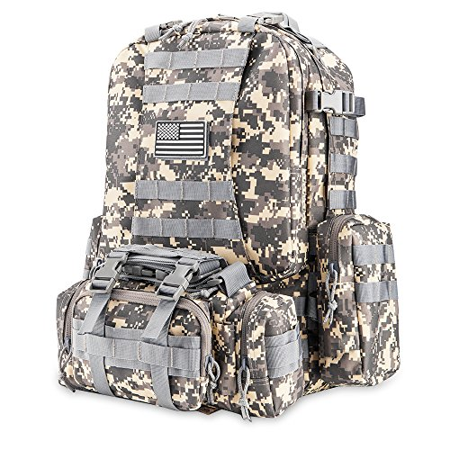 Z ZTDM 50L Outdoor Tactical Backpack Army Rucksack,900D Waterproof, 3-day Assault Backpack MOLLE System Packs for School,Trekking,Camping,Traveling,Business - Days Are Business Fedex For What