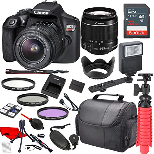 Canon EOS Rebel T6 Digital SLR Camera with Canon EF-S 18-55mm IS II Lens, Sandisk 32GB SDHC Memory Card (25pc (Canon Extender Set)