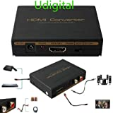 Udigital 1080P 3D HDMI Audio HDMI to HDMI + Optical SPDIF + RCA L / R Stereo Audio Video Splitter Converter(HDMI input,HDMI+ Toslink/Analog Audio output)-Include AC Adapter