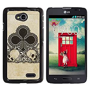 All Phone Most Case / Hard PC Metal piece Shell Slim Cover Protective Case for LG Optimus L70 / LS620 / D325 / MS323 Clubs Ace Gambling Poker Cards Skull