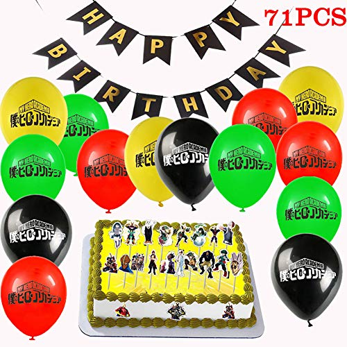 My Hero Academia Balloon Banner Cake Toppers Gift Set, 71 Pack My Hero Academia Party Supplies - 20 Pack Balloons, 1 Pack Banner, 50 Pack Cake Toppers for MHA Fans