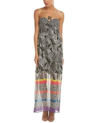 2a16daa6753 Amazon.com  Trina Turk Womens Belize Silk-Trim Maxi Dress