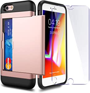 iPhone 7/8 / SE 2020 Case with Card Holder and[ Screen Protector Tempered Glass x2Pack] SUPBEC i Phone 7/8/SE 2 Wallet Case Cover with Shockproof Silicone TPU + Hard PC Full Protective-Rose Gold