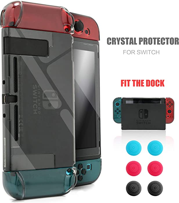 Dockable Protective Case Kit for Nintendo Switch, Crystal Clear Protector for Nintendo Switch with a Tempered Glass Screen Protector and 6 Joy Stick Covers - Black
