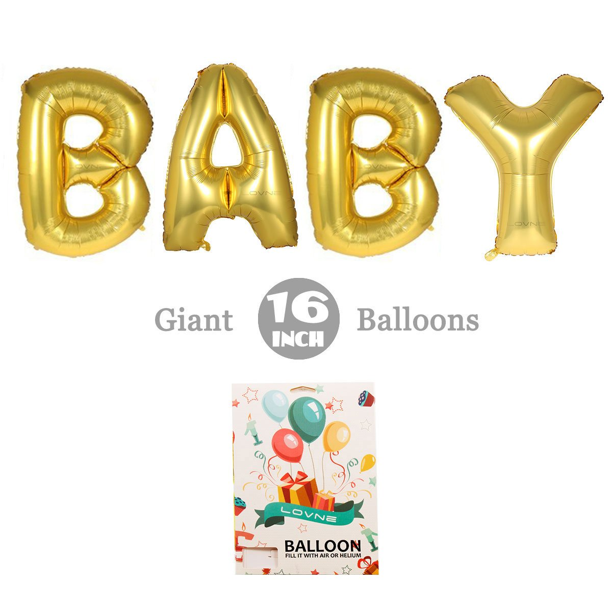 Amazon.com: Decorations of Cute Gold Alphabet Letters Balloons ...