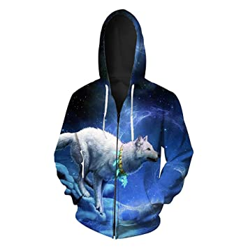 WYms Sudaderas con Capucha para Hombre en 3D otoño Lobo ártico patrón Chaqueta de Punto con Capucha con Cremallera Sudadera para Hombre, XXL: Amazon.es: ...