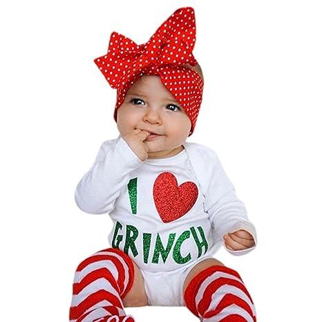 sikye dulce Navidad traje, 2pcs infantil bebé niñas Pelele de I Love Grinch carta +