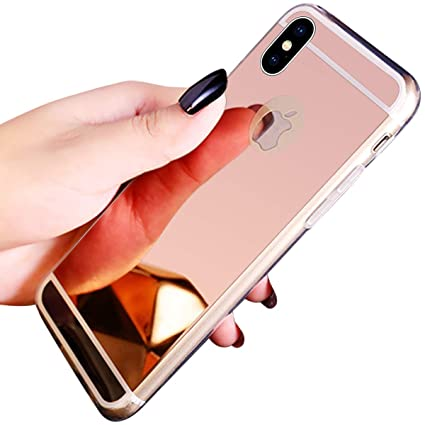 iPhone XS Max Case,iPhone XS Max Mirror Case,PHEZEN Luxury Bling Makeup  Mirror Case,Luxury Sparkle Plating TPU Bumper Anti Scratch Bright  Reflection