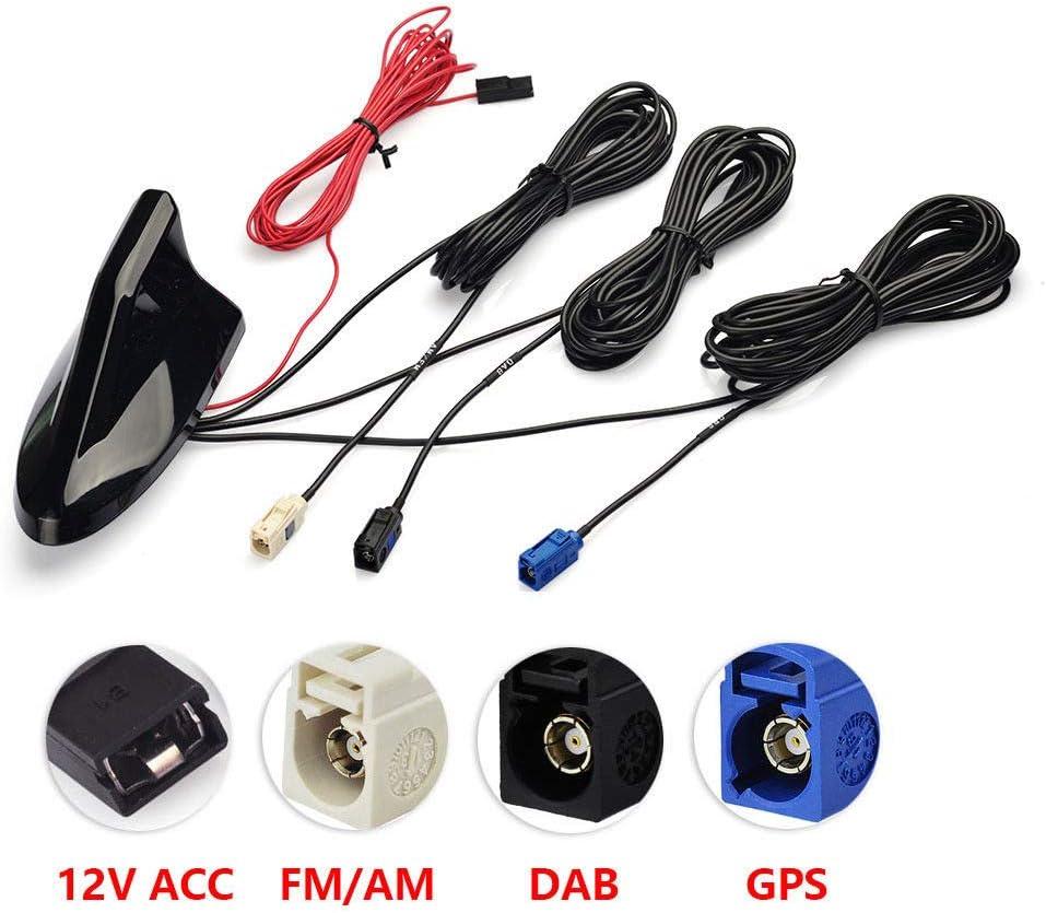 Eightwood Dab + Antena de Radio para automóvil Dab Divisor Fakra Antena A Adaptador de Fakra Z Am/FM Adaptador GPS Amplificador de señal Antena de tiburón para automóvil con extensión RG174 500 cm