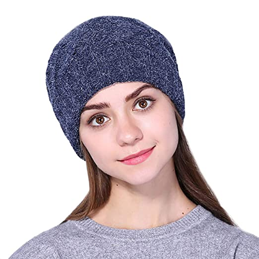 Amazon.com: lotus.flower Fashion Women Solid Crochet Ear Protection Keep Warm Winter Wool Knitted Beanie Cap Hat (A): Clothing