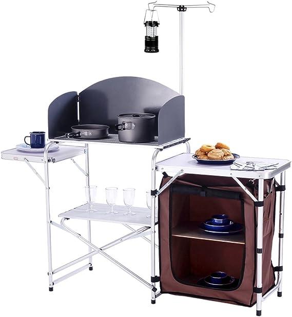 Portable Camping Kitchen Table Island Bench Folding Komodo Camp Picnic Food Stor