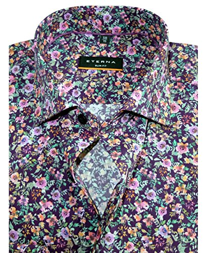 Eterna Slim Fit Langarmhemd Floraldessin in lila bunt 8076-19-F170