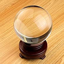 Sumnacon® Clear Crystal Ball - Meditation Sphere Ball- Divination & Interpretation Sefirot Crystal Ball - Decor Photography Ball with Free Wooden Stand and Gift Box (80mm / 3.15 in Diameter)