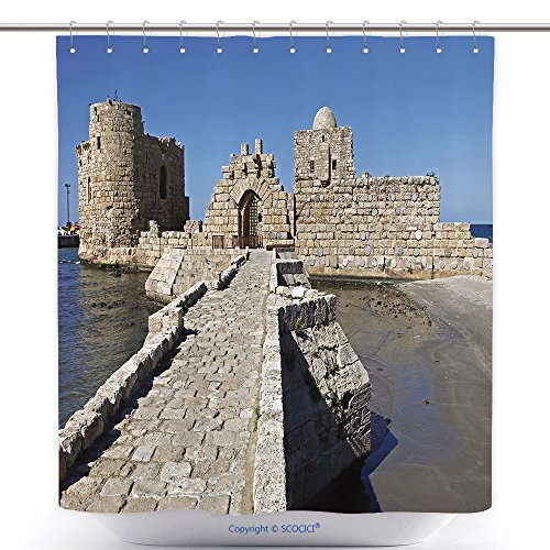 vanfan-Durable Shower Curtains Sidon Saida Lebanon February Old City Downtown Ancient Streets Perspective View in Polyester Bathroom Shower Curtain Set Hooks(60 x 72 inches)