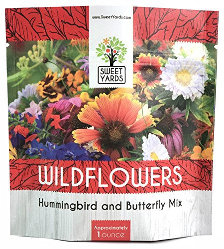 (Wildflower Seeds Butterfly and Humming Bird Mix - Large 1 Ounce Packet 7,500+ Seeds - 23 Open Pollinated Annual and Perennial Species)