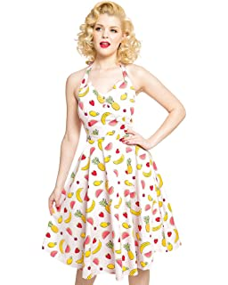 Lindy Bop Myrtle Pink Fruit Print Halterneck Swing Dress