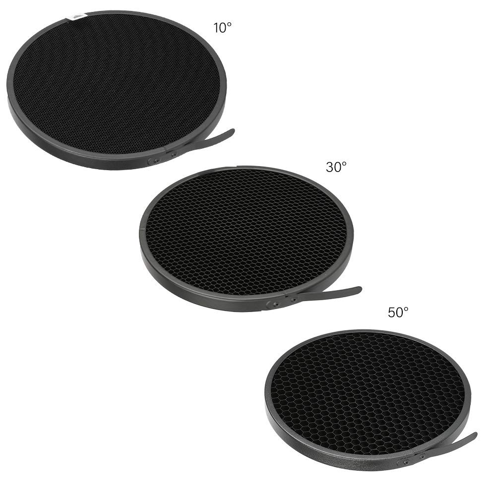 Soonpho Standard Reflector Photography 7inch/18cm Diffuser with 10/30/50 Degree Honecomb Lamp Shade Grid for Bowens Mount Studio Light Strobe