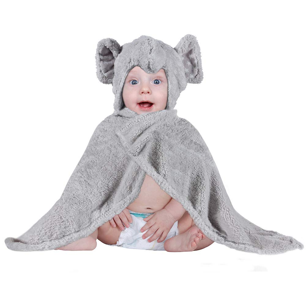 Lictin Baby Towel Baby Hooded Blanket Towel Blanket Plush Towel Bathing Swimming Wrap with Cute Elephant Design for Baby 0 to 48 months Unisex (75 * 82cm)