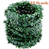 32.8 Yards Artificial Ivy Garland Foliage Green Leaves Fake Vine Headband for Wedding Party Ceremony DIY Headbands