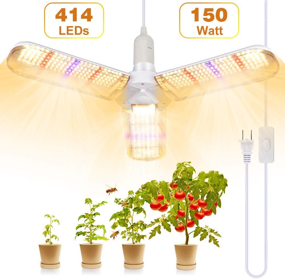 Lamparas LED Cultivo, SINJIALight150W E27 LED LED Plantas con 3 Alas, Ángulo Ajustable 414 LEDs Grow Light de Espectro Completo con Cable de Alimentación, para Todas las Etapas de Crecimiento