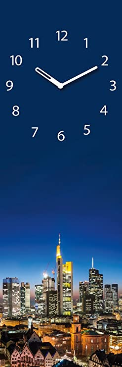 Wanduhr aus Glas, Frankfurt Cityscape, Skyline, blau, 20x60 cm von Eurographics