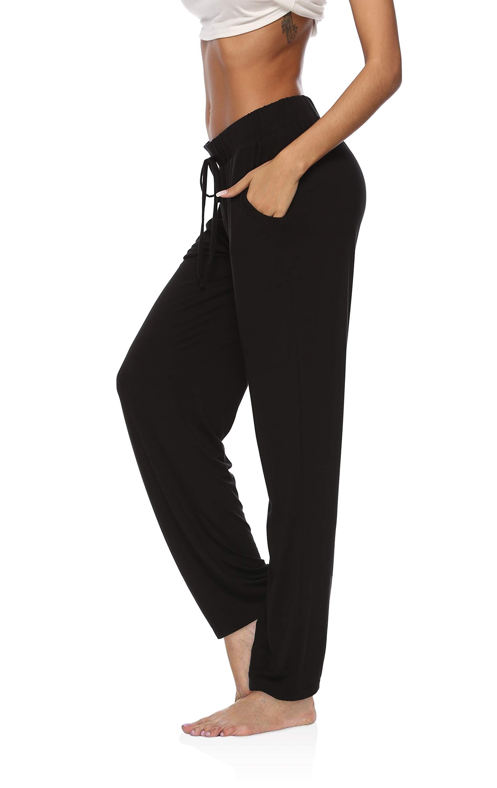 DIBAOLONG Womens Yoga Pants Wide Leg Comfy Drawstring Loose Straight Lounge Running Workout Legging A1-Black L by DIBAOLONG