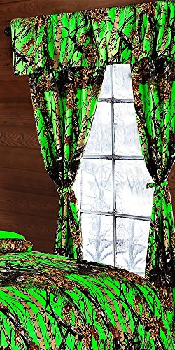 Regal Comfort The Woods Bio Hazard Green Camouflage 5pc Curtain Set for Hunters Cabin or Rustic Lodge Teens Boys and Girls(Curtain, Bio Hazard Green)