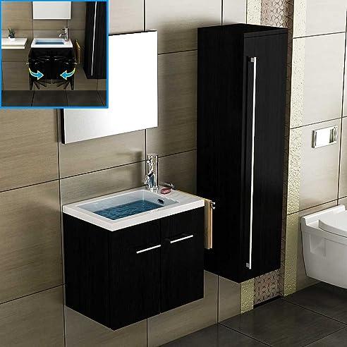 Badezimmer Möbel Becken Mit Unterschrank Spiegel Waschplatz Schwarz  Badmöbel Gäste WC Lösung Waschtisch