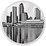 Pixels Round Beach Towel With Tassels featuring ''Black And White In The Heart Of Tampa Bay'' by Frozen in Time Fine Art Photography