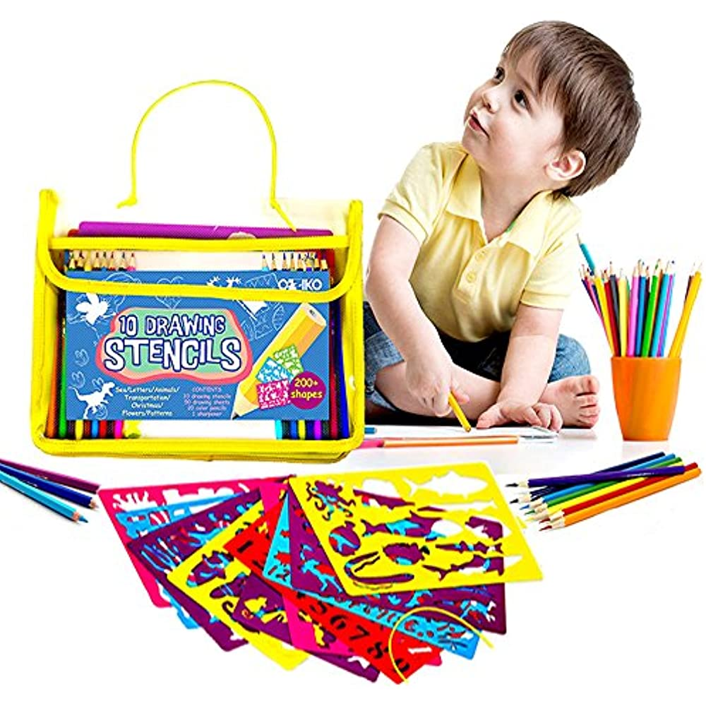 Details About Drawing Stencils Art Sets For Kids Supplies Gift Girls Boys Age 3 Up Popular