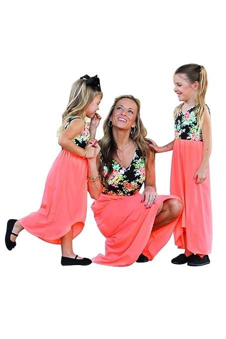 5b9c6e4831e Mom&Me Boho Beach Dress with Long Hem Franterd Mom   Baby Parent-Child Slim  A