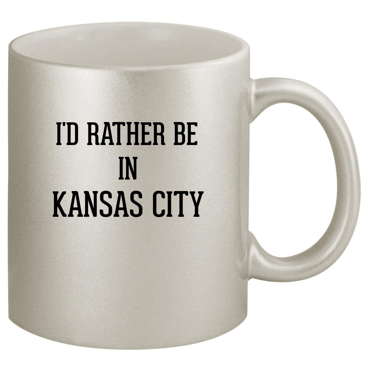 I'd Rather Be In KANSAS CITY - Ceramic 11oz Silver Coffee Mug, Silver