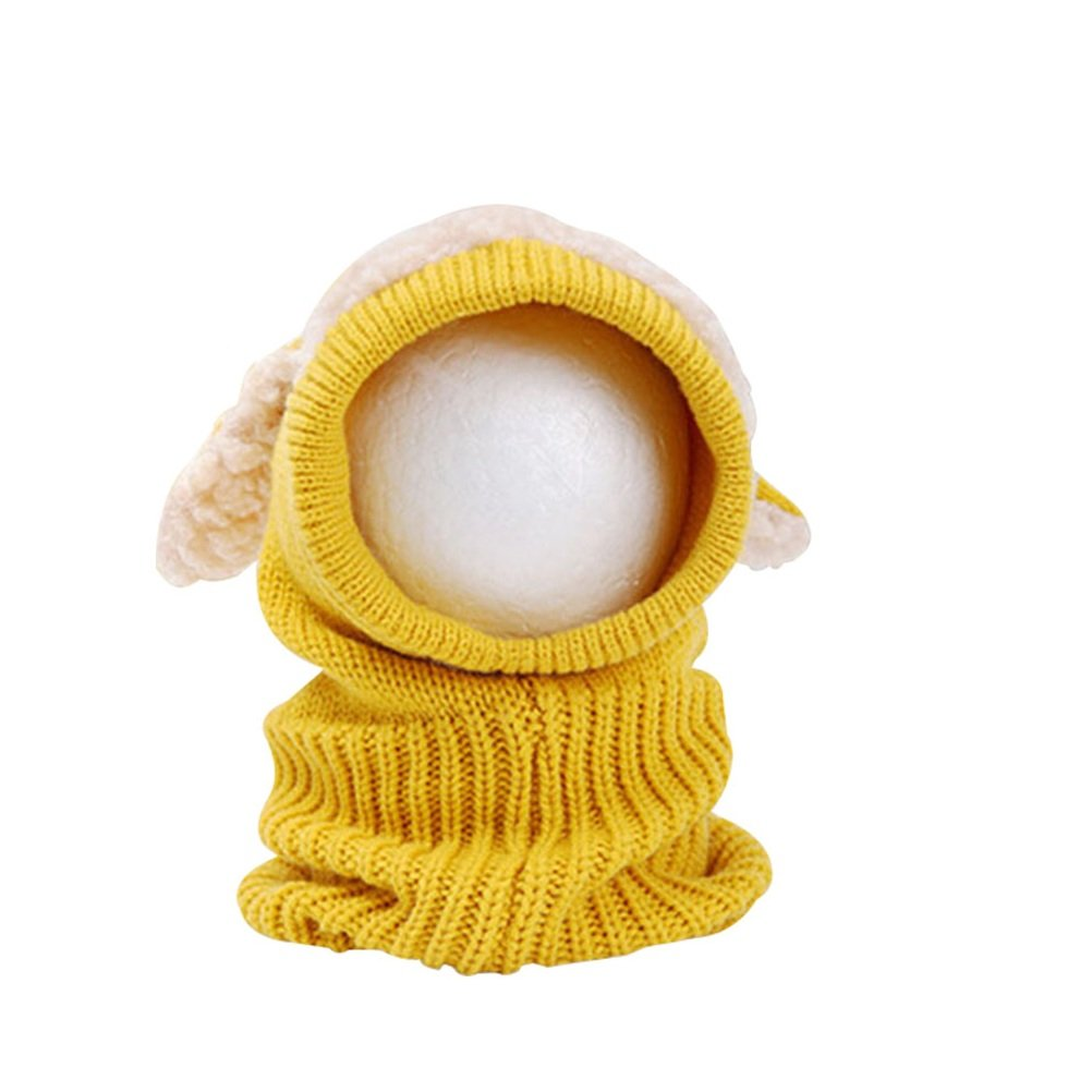 OULII Baby Girls Boys Hood scarf Winter Warm Woolen Earflap Knitted Cap (Yellow) XY134645YGT5I5132