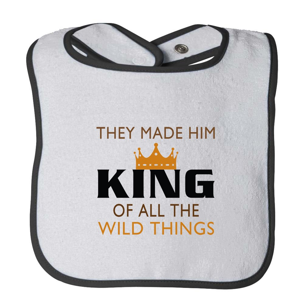 They Made Him King of All Wild Things Infant Contrast Trim Terry Bib White//Black