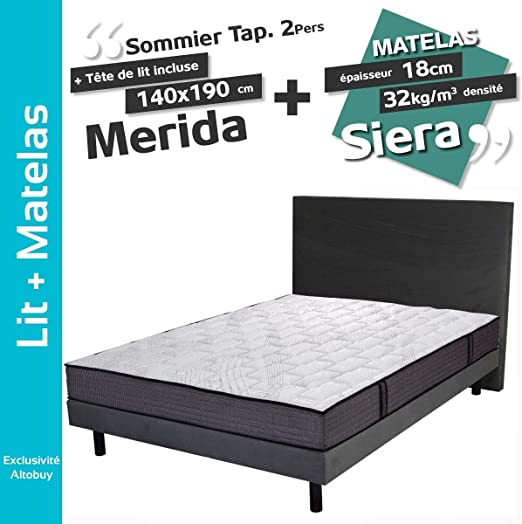 AltoBuy Merida - Pack somier 140 x 190 + colchón Sera: Amazon.es ...