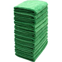 SURPRISE PIE Reusable Microfiber Cleaning Boat Cloths Pack of 12 Green Kitchen Towels for Window Cleaner House Washcloth Polishing Stainless Steel Rags