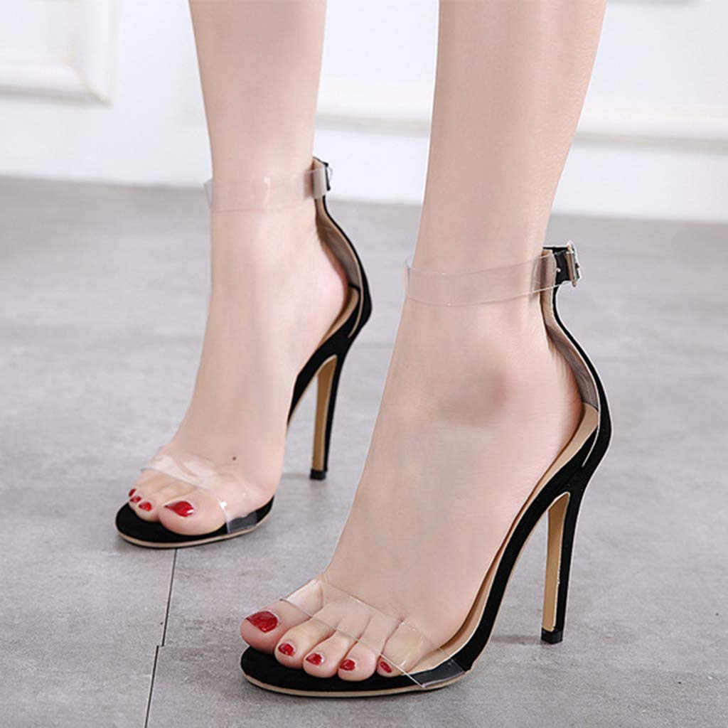 YunZyun High-Heeled Sandals Transparent Cool Sandals Suede Stitching Buckle Women Shoes (Black, 36)