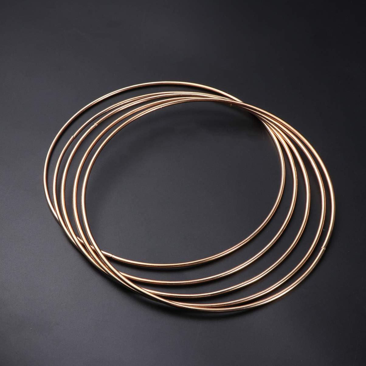 LIOOBO 5 Pcs Metal Smooth Golden Dreamcatcher Hoop Ring for Spirit Shields Plant Hangers Dream Catchers Macrame Creations