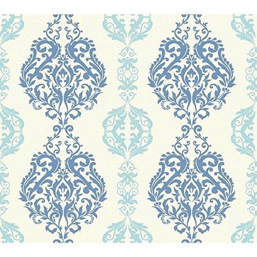 York Wallcoverings WB5440 Botanical Fantasy Damask Stripe Wallpaper, White/Chambray/Marine Blue