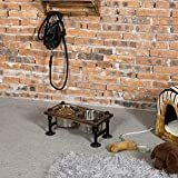 MyGift Rustic Wood and Industrial Metal Double Pet