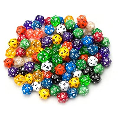 Wiz Dice 100+ Pack of Random D20 Polyhedral Dice in Multiple Colors: Sports & Outdoors