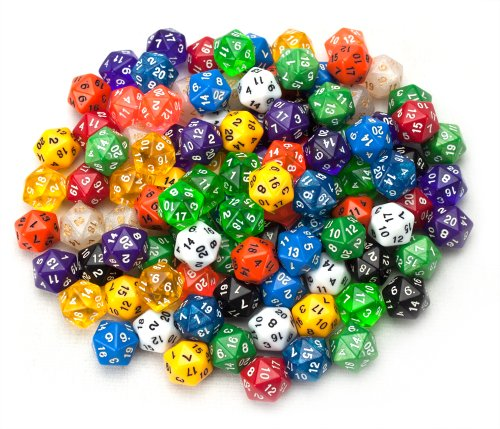 Wiz Dice 100+ Pack of Random D20 Polyhedral Dice in Multiple Colors