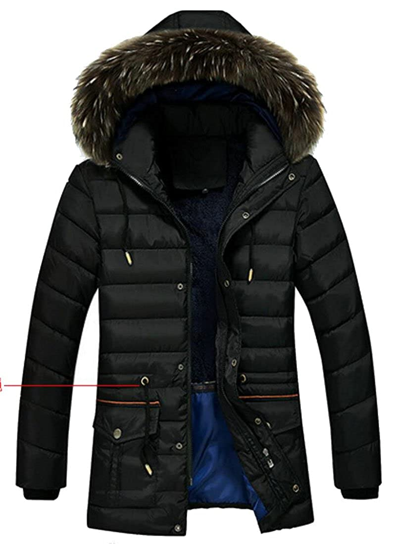 YONGM Mens Warm Faux Fur Collar Hooded Packable Puffer Down Jacket Winter Parka Coat