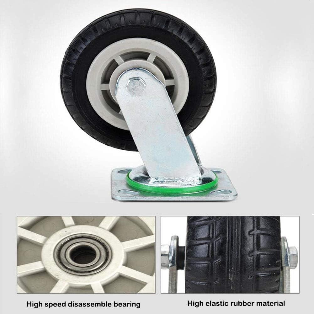 MUMA Heavy Duty Casters 4//5//6//8 Inch Universal Brake Wheel Silent Furniture Trolley Flat Wheel Industrial Machinery Wheel Shelf Wheel Color : Brake, Size : 5 inch