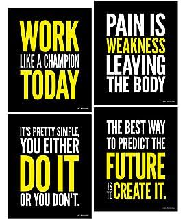 Poster Bodybuilding Men Girl Fitness Workout Quotes Motivational Font Print 01
