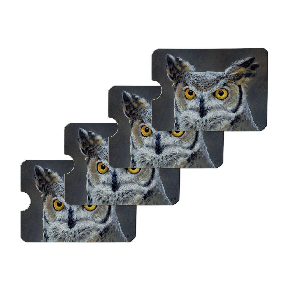 Great Horned Owl Painting Credit Card RFID Blocker Holder Protector Wallet Purse Sleeves Set of 4