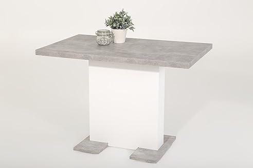 Esstisch Säulentisch   BUGSY   Ausziehtisch Tisch Ausziehbar In Beton / Weiß